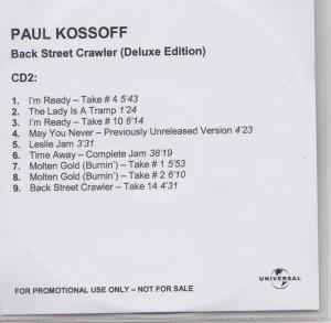 Back Street Crawler Promo CD1